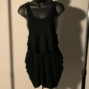 NWOT Free People black loose layered pocket dress
